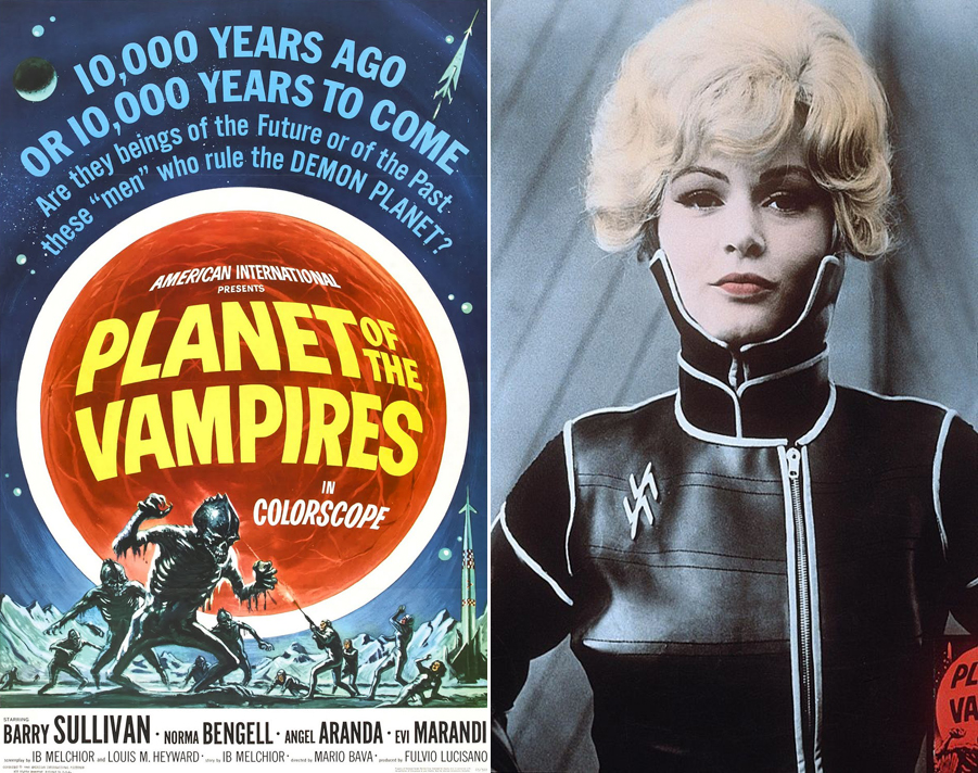 Plant of the Vampires movie poster and Evi Marandi playing one of the crew members of the doomed spaceship, the Argos.