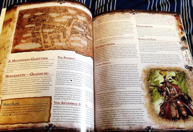 A couple of pages from The Enemy Within from Warhammer Fantasy Roleplay.