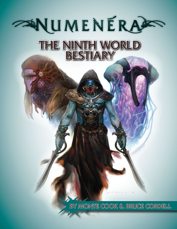 Cover of The Ninth World Bestiary for the Numenera RPG game. (Source: www.MonteCookGames.com)