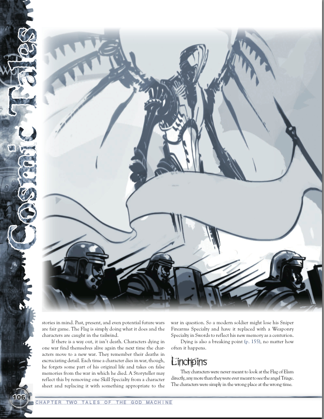 One of the God Machine's angels manipulating human history in a battle. Excerpt from the God Machine Chronicle for World of Darkness.