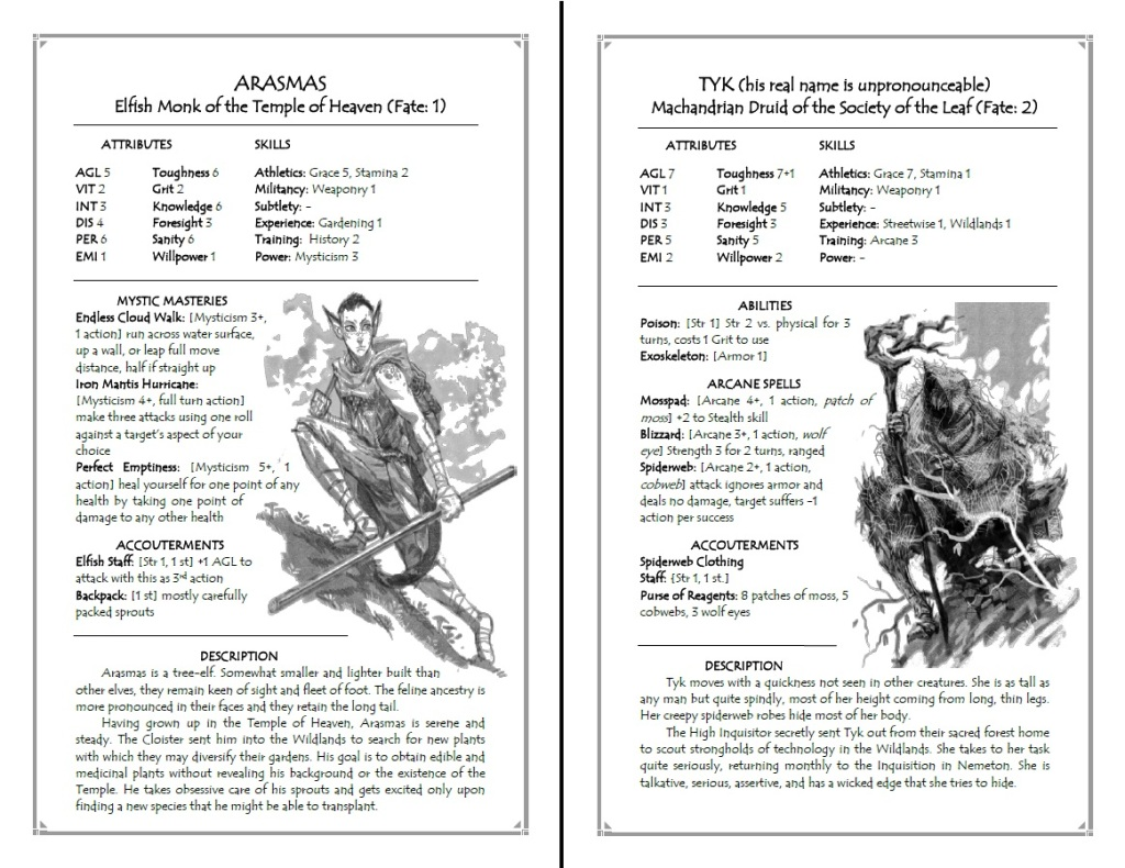 Arasmas and Tyk, two other characters can play in The Godsfall RPG release for Free RPG Day (Source: www.godsfallrpg.com)