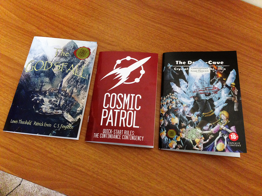 Some of the Free RPG Day indie releases I picked up. From left to right: Godsfall, Cosmic Patrol and Lamentations of the Flame Princess.