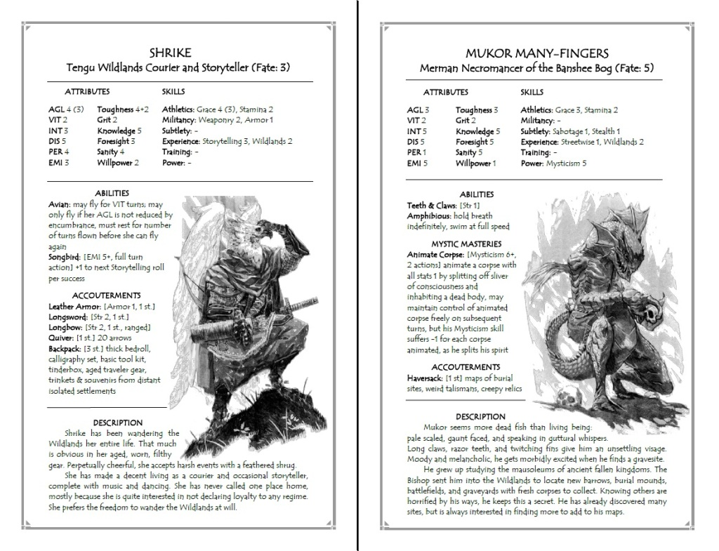 Shrike and Mukor Many-Fingers, two characters that players can play in The Godsfall Free RPG Day release. (Source: www.godsfallrpg.com)