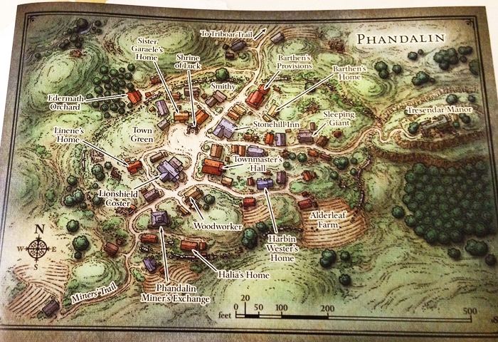 Map of Phandalin from the adventure Lost Mine of Phandelver from the Dungeons and Dragons Starter Set.