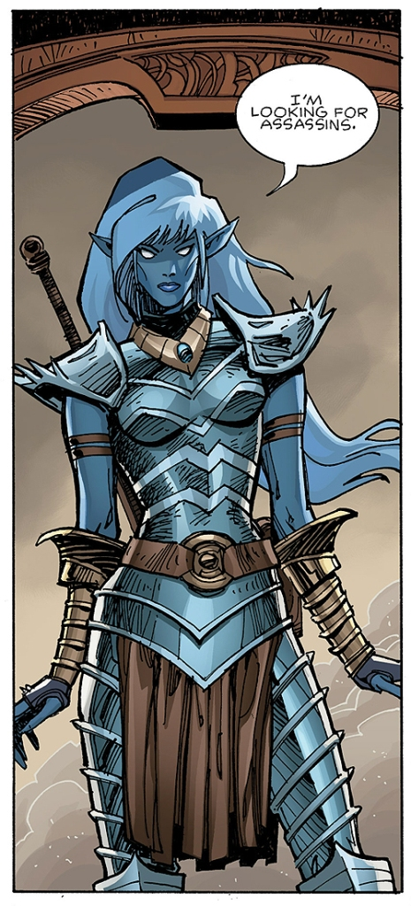 Brynja, the black elf assassin, from Ragnarok #1 by Walt Simonson.