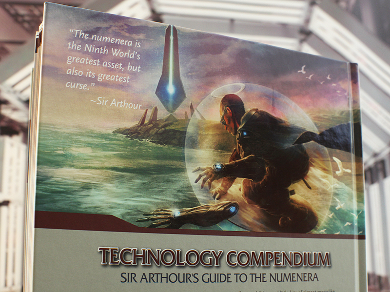 Back cover to the Numenera Technology Compendium - Sir Arthour's Guide to the Numenera produced by Monte Cook Games.