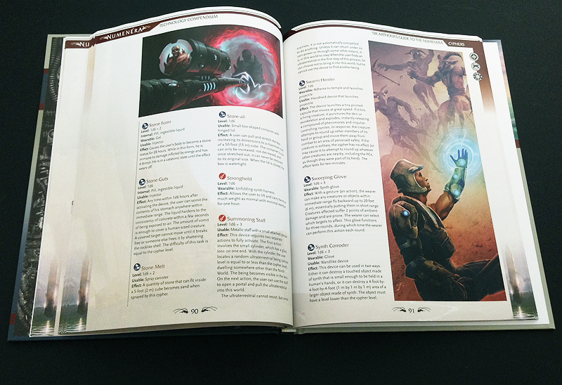 Pages from the Numenera Technology Compendium - Sir Arthour's Guide to the Numenera produced by Monte Cook Games.