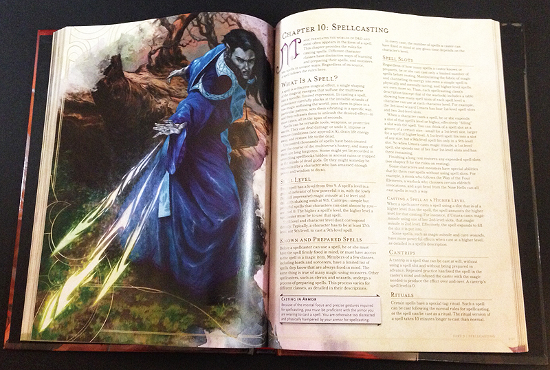 A couple of spellcasting pages from the 5th edition of the Dungeons and Dragons Player's Handbook.