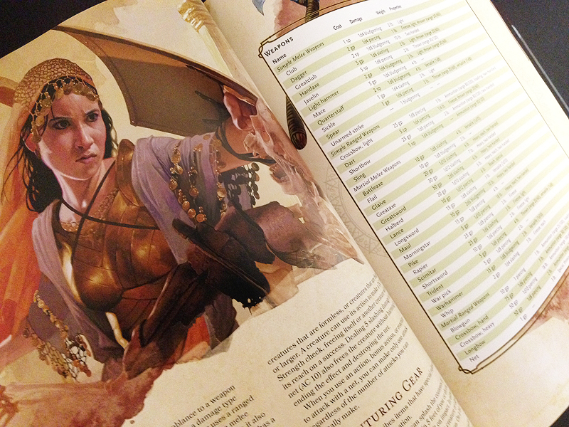 A couple pages on gear and weapons from the 5th edition of the Dungeons and Dragons Player's Handbook