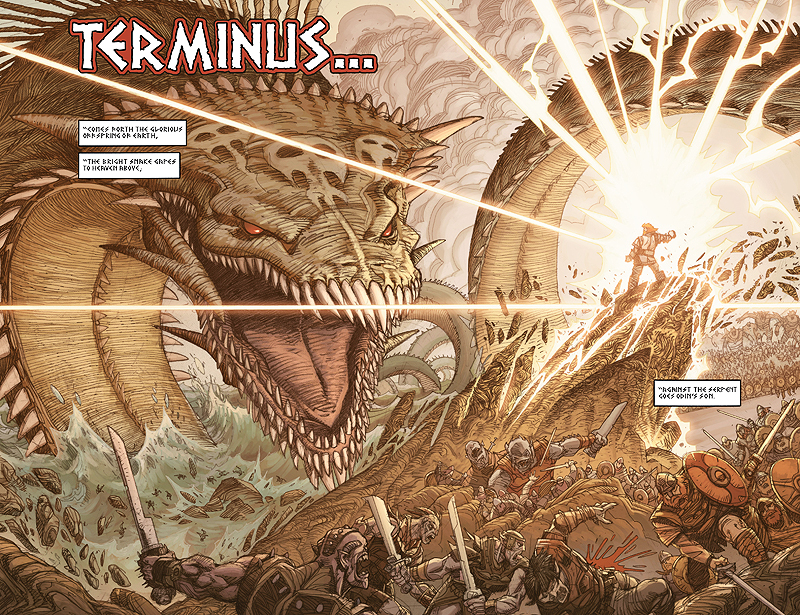 A double page spread featured in the prologue to Ragnarok #1 by Walt Simonson and released by IDW.