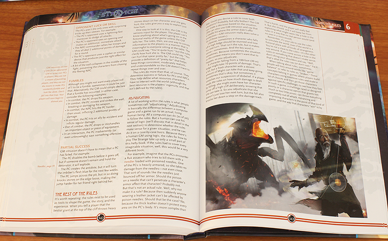 A couple of pages from The Strange RPG book.