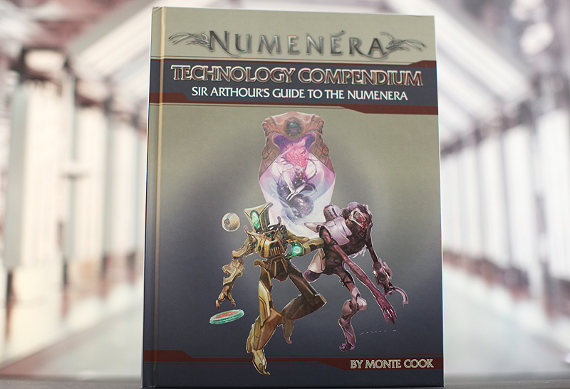 Hardback book cover of Numenera Technology Compendium - Sir Arthour's Guide to Numenera released by Monte Cook Games.