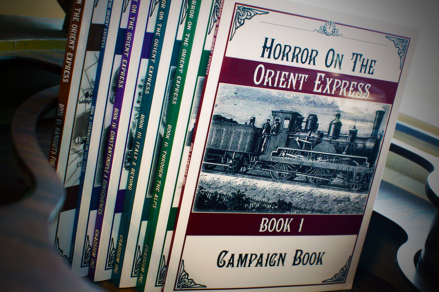 The books included with the Horror on the Orient Express boxed set by Chaosium.