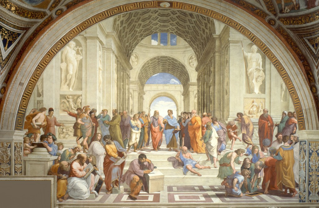 Raphael's School of Athens found in the Apostolic Palace at Vatican City. (Source: Wikimedia)